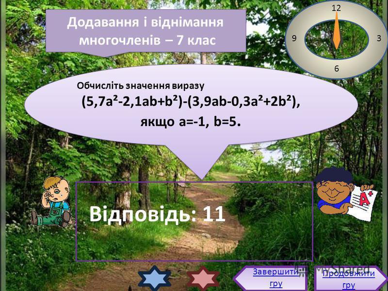 Обчисліть значення виразу (5,7а²-2,1аb+b²)-(3,9ab-0,3a²+2b²), якщо a=-1, b=5. Обчисліть значення виразу (5,7а²-2,1аb+b²)-(3,9ab-0,3a²+2b²), якщо a=-1, b=5. 12 3 6 9 Відповідь: 11 Продовжити гру Продовжити гру Завершити гру Додавання і віднімання мног