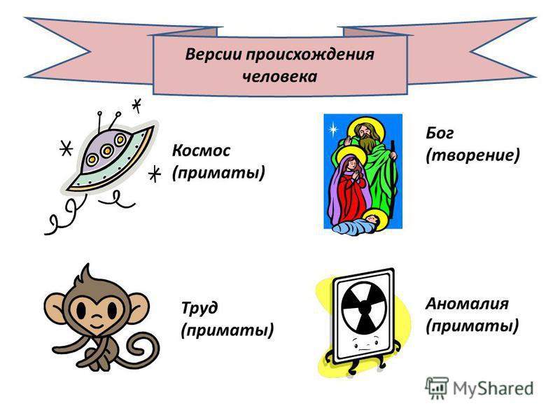 Версии происхождения человека Космос (приматы) Труд (приматы) Бог (творение) Аномалия (приматы)