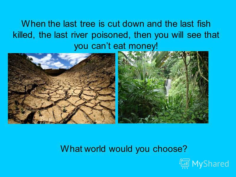 When the last tree is cut down and the last fish killed, the last river poisoned, then you will see that you cant eat money! What world would you choose?