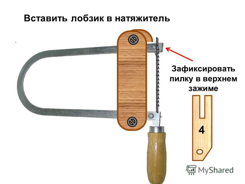 4 4 Зажимными винтами пилку закрепляют прочно Для прочного закрепления пилки довернуть ключом для лобзика гайку-барашек на угол 15-20