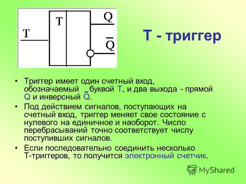 Т - триггер Триггер имеет один счетный вход, обозначаемый буквой Т, и два выхода - прямой Q и инверсный Q. Под действием сигналов, поступающих на счетный вход, триггер меняет свое состояние с нулевого на единичное и наоборот. Число перебрасываний точ