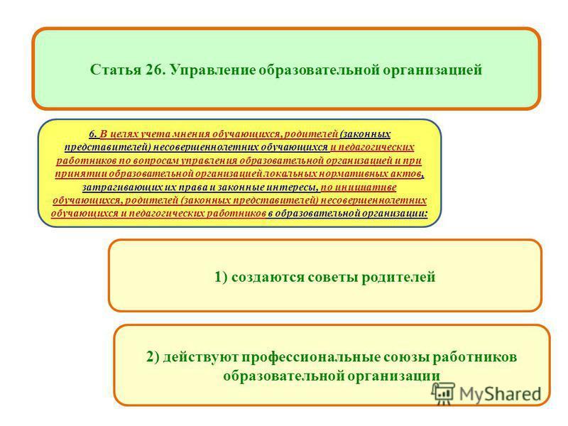 образовательных учреждениях 1) создаются советы родителей Статья 26. Управление образовательной организацией 2) действуют профессиональные союзы работников образовательной организации 6. В целях учета мнения обучающихся, родителей (законных представи