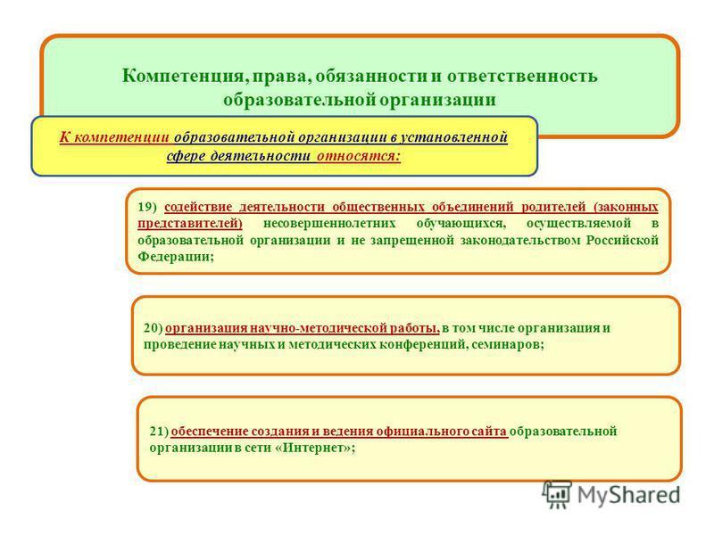 образовательных учреждениях 19) содействие деятельности общественных объединений родителей (законных представителей) несовершеннолетних обучающихся, осуществляемой в образовательной организации и не запрещенной законодательством Российской Федерации;