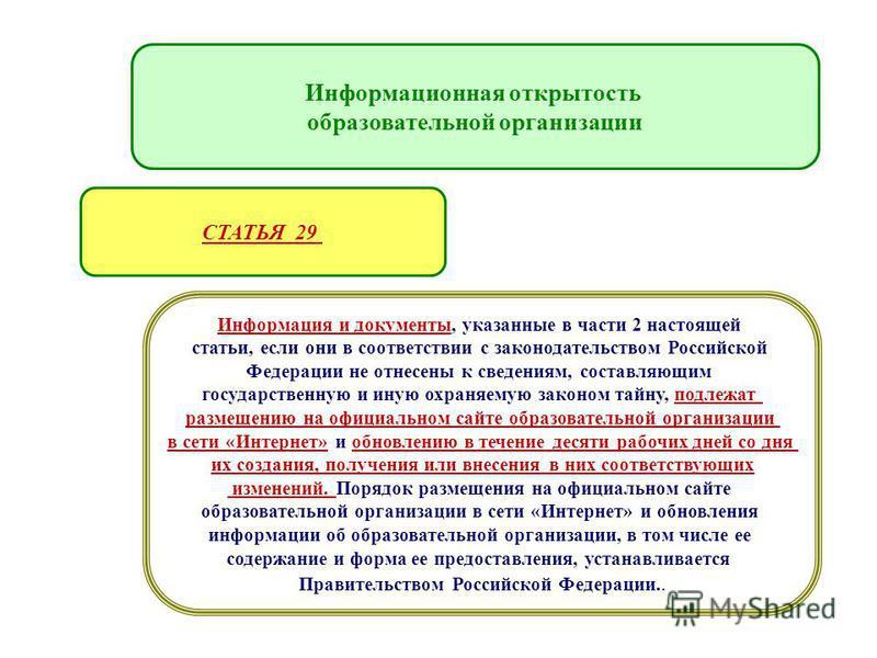 Организация образовательного процесса Информация и документы, указанные в части 2 настоящей статьи, если они в соответствии с законодательством Российской Федерации не отнесены к сведениям, составляющим государственную и иную охраняемую законом тайну