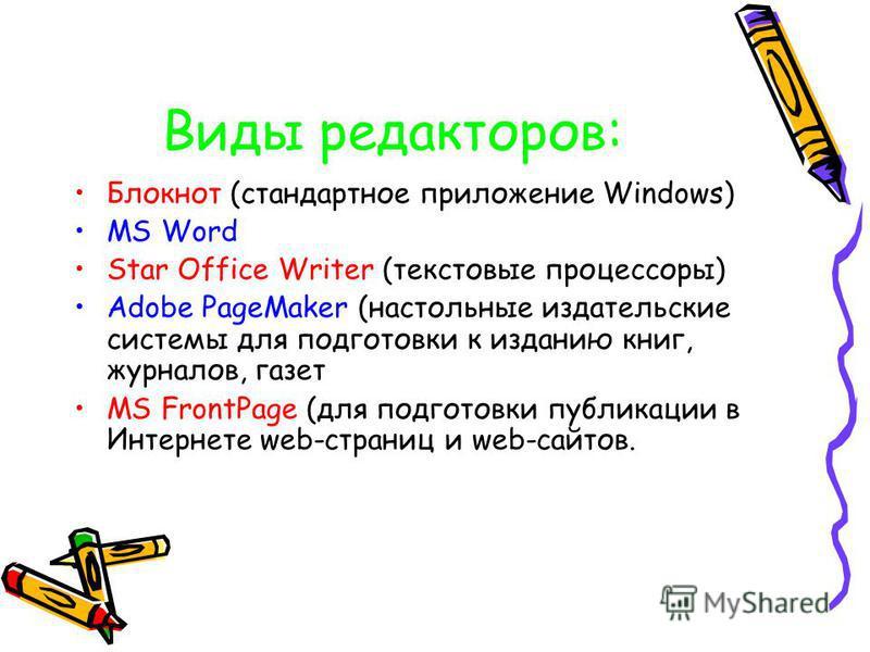 Виды редакторов: Блокнот (стандартное приложение Windows) MS Word Star Office Writer (текстовые процессоры) Adobe PageMaker (настольные издательские системы для подготовки к изданию книг, журналов, газет MS FrontPage (для подготовки публикации в Инте
