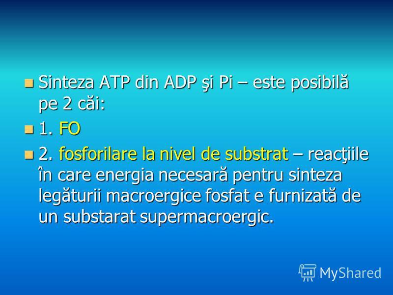 Sinteza ATP din ADP şi Pi – este posibilă pe 2 căi: Sinteza ATP din ADP şi Pi – este posibilă pe 2 căi: 1. FO 1. FO 2. fosforilare la nivel de substrat – reacţiile în care energia necesară pentru sinteza legăturii macroergice fosfat e furnizată de un