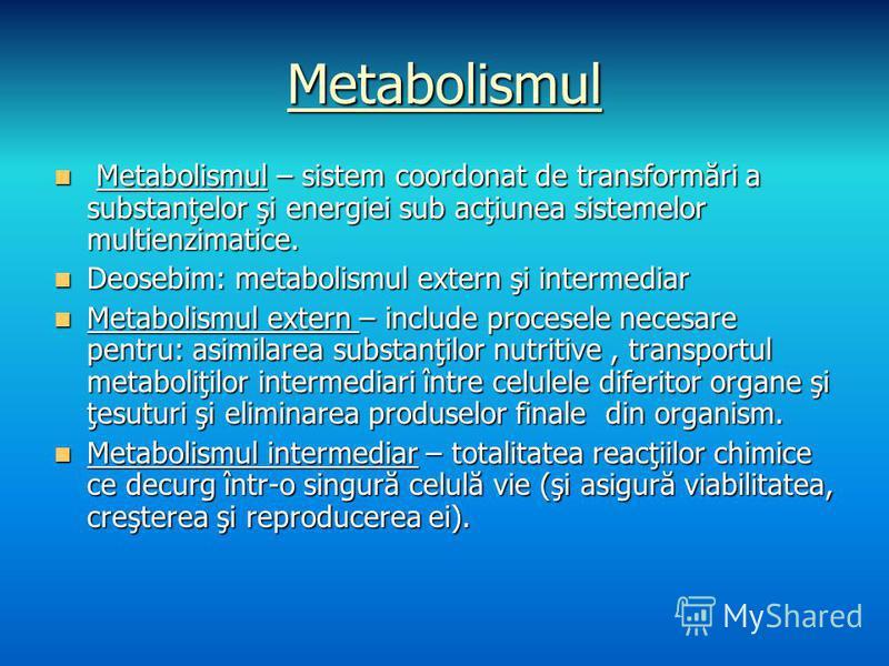 Metabolismul Metabolismul – sistem coordonat de transformări a substanţelor şi energiei sub acţiunea sistemelor multienzimatice. Metabolismul – sistem coordonat de transformări a substanţelor şi energiei sub acţiunea sistemelor multienzimatice. Deose