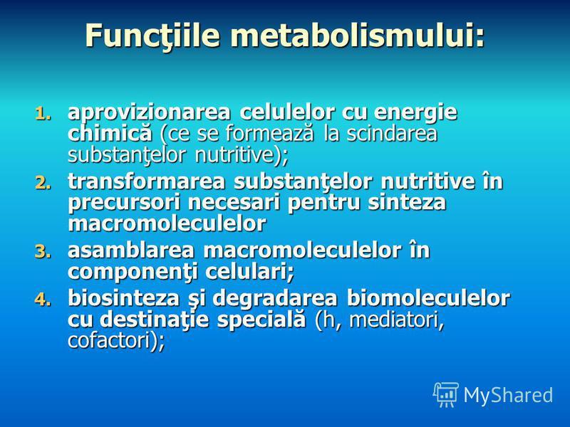 Funcţiile metabolismului: 1. aprovizionarea celulelor cu energie chimică (ce se formează la scindarea substanţelor nutritive); 2. transformarea substanţelor nutritive în precursori necesari pentru sinteza macromoleculelor 3. asamblarea macromoleculel