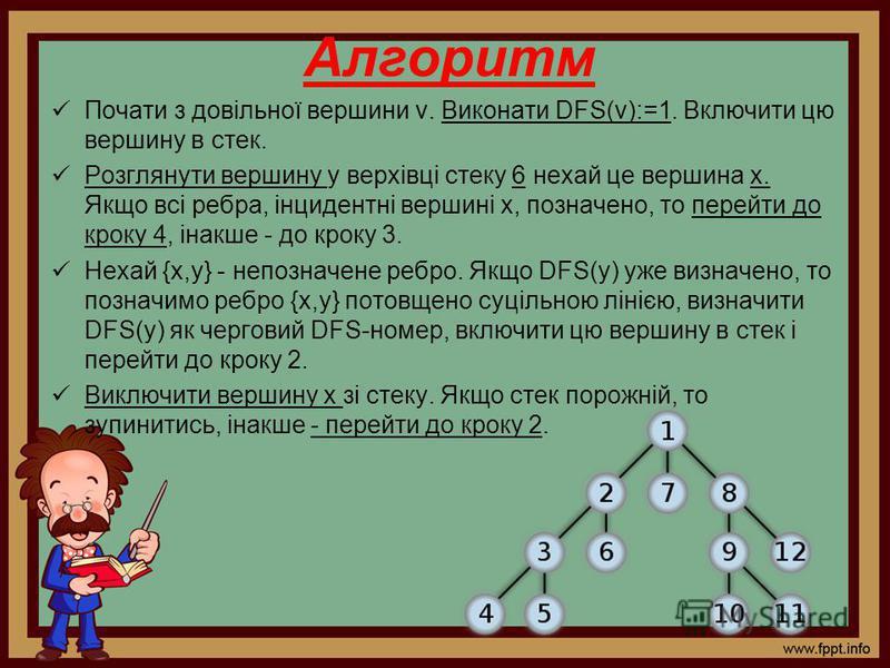 Алгоритм Почати з довільної вершини v. Виконати DFS(v):=1. Включити цю вершину в стек. Розглянути вершину у верхівці стеку 6 нехай це вершина х. Якщо всі ребра, інцидентні вершині х, позначено, то перейти до кроку 4, інакше - до кроку 3. Нехай {x,y}