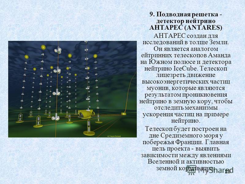 29 9. Подводная решетка - детектор нейтрино АНТАРЕС (ANTARES) АНТАРЕС создан для исследований в толще Земли. Он является аналогом ейтринних телескопов Аманда на Южном полюсе и детектора нейтрино IceCube. Телескоп лицезреть движение высокоэнергетическ