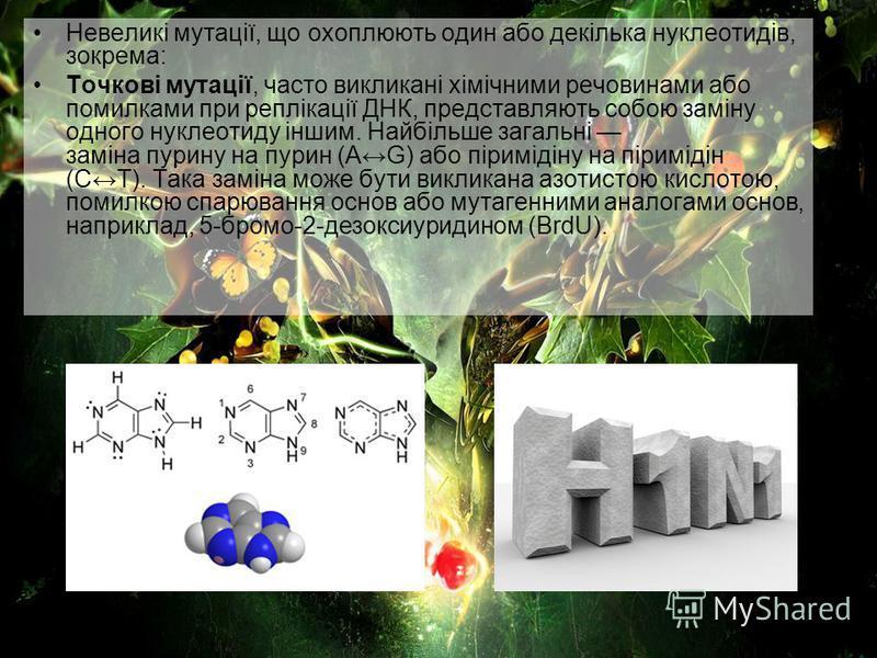 Невеликі мутації, що охоплюють один або декілька нуклеотидів, зокрема: Точкові мутації, часто викликані хімічними речовинами або помилками при реплікації ДНК, представляють собою заміну одного нуклеотиду іншим. Найбільше загальні заміна пурину на пур