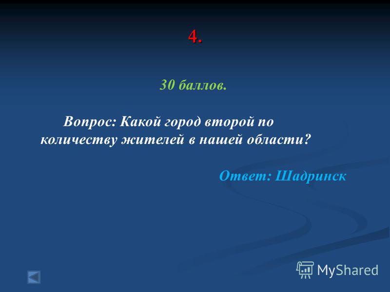 4. 30 баллов. Вопрос: Какой город второй по количеству жителей в нашей области? Ответ: Шадринск
