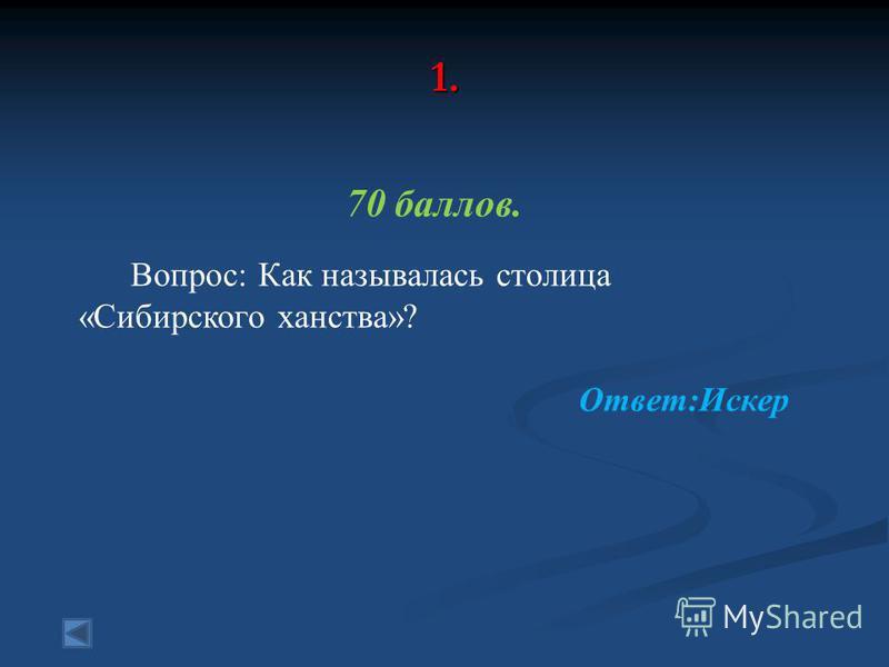 1. 70 баллов. Вопрос: Как называлась столица «Сибирского ханства»? Ответ:Искер