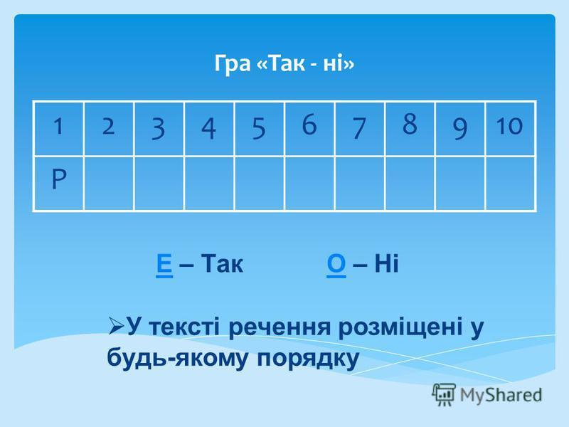 Гра «Так - ні» 12345678910 Р ЕЕ – Так О – НіО У тексті речення розміщені у будь-якому порядку