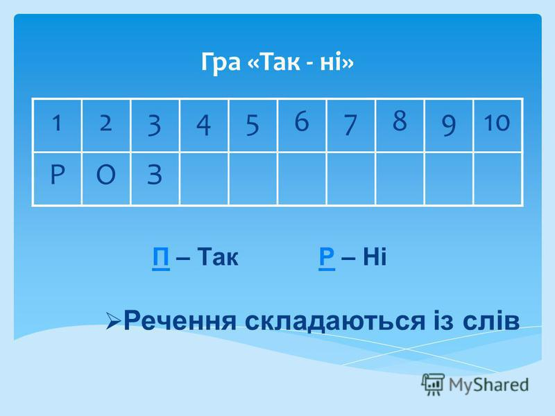 Гра «Так - ні» 12345678910 РОЗ ПП – Так Р – НіР Речення складаються із слів