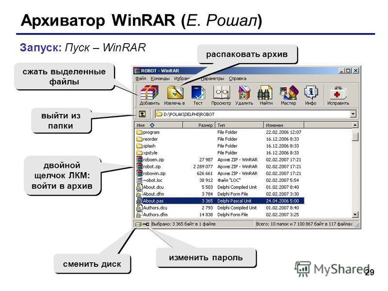 29 Архиватор WinRAR (Е. Рошал) Запуск: Пуск – WinRAR сжать выделенные файлы распаковать архив изменить пароль сменить диск двойной щелчок ЛКМ: войти в архив выйти из папки