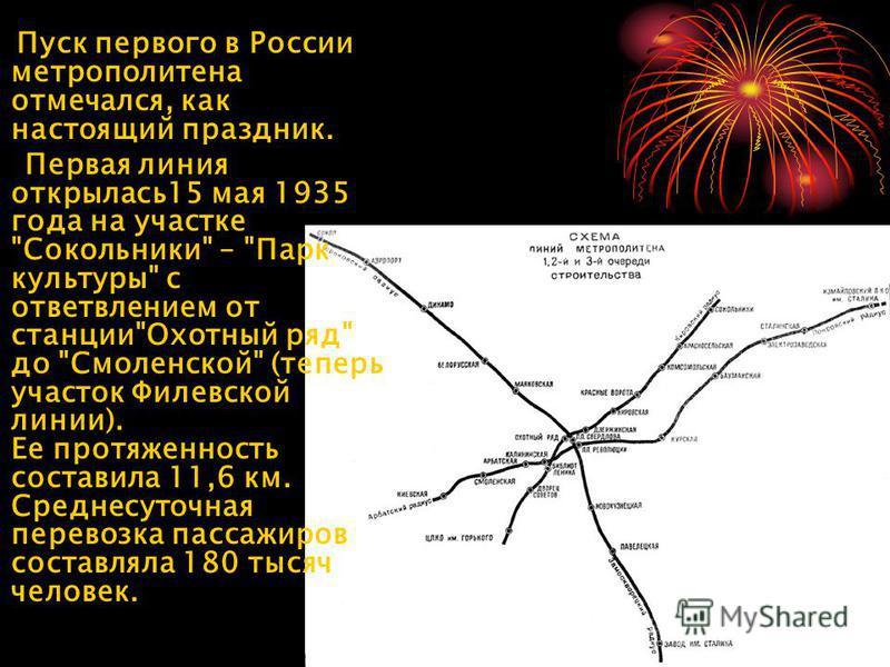 Пуск первого в России метрополитена отмечался, как настоящий праздник. Первая линия открылась 15 мая 1935 года на участке