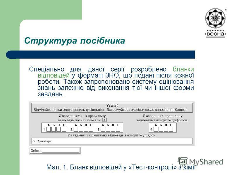 Структура посібника Спеціально для даної серії розроблено бланки відповідей у форматі ЗНО, що подані після кожної роботи. Також запропоновано систему оцінювання знань залежно від виконання тієї чи іншої форми завдань. Мал. 1. Бланк відповідей у «Тест