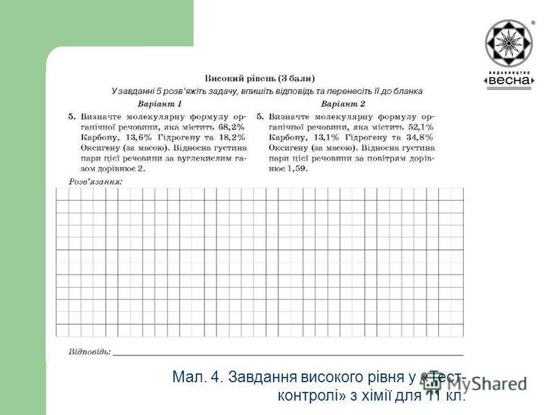 Структура посібника Мал. 4. Завдання високого рівня у «Тест- контролі» з хімії для 11 кл.