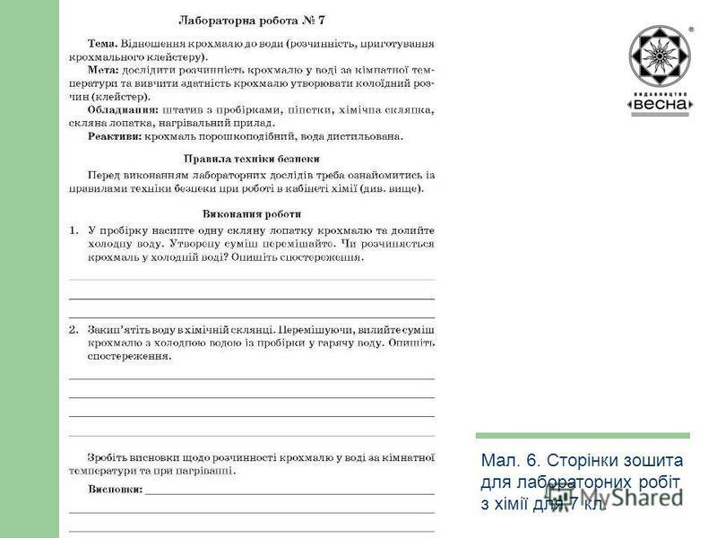 Структура посібника Мал. 6. Сторінки зошита для лабораторних робіт з хімії для 7 кл.