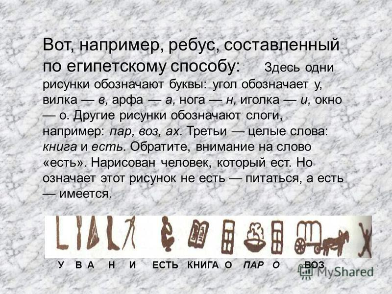 У В А Н И ЕСТЬ КНИГА О ПАР О ВОЗ Вот, например, ребус, составленный по египетскому способу: Здесь одни рисунки обозначают буквы: угол обозначает у, вилка в, арфа а, нога н, иголка и, окно о. Другие рисунки обозначают слоги, например: пар, воз, ах. Тр