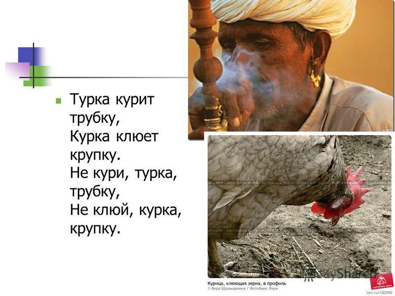 Турка курит трубку, Курка клюет крупку. Не кури, турка, трубку, Не клюй, курка, крупку.