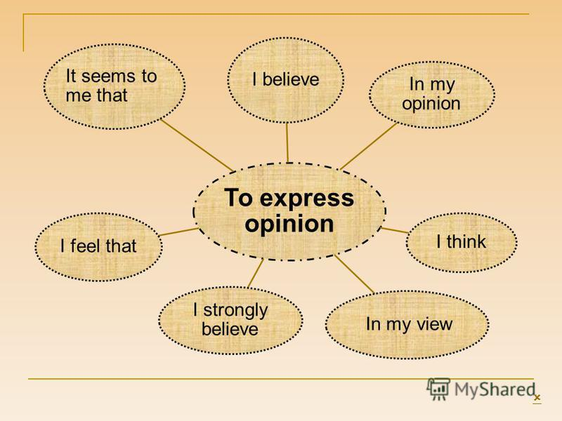 To express opinion I believe In my opinion I think In my view I strongly believe I feel that It seems to me that