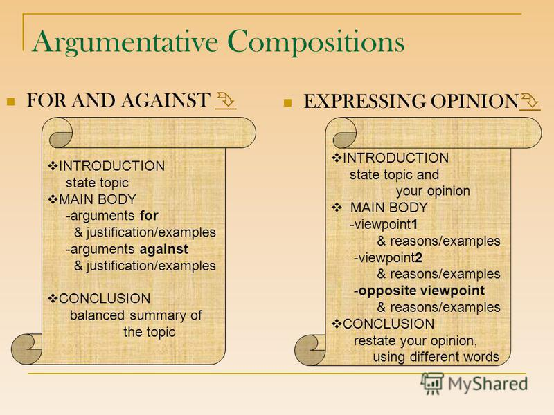 Argumentative Compositions FOR AND AGAINST EXPRESSING OPINION INTRODUCTION state topic MAIN BODY -arguments for & justification/examples -arguments against & justification/examples CONCLUSION balanced summary of the topic INTRODUCTION state topic and