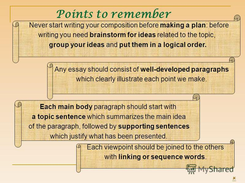 Never start writing your composition before making a plan: before writing you need brainstorm for ideas related to the topic, group your ideas and put them in a logical order. Any essay should consist of well-developed paragraphs which clearly illust
