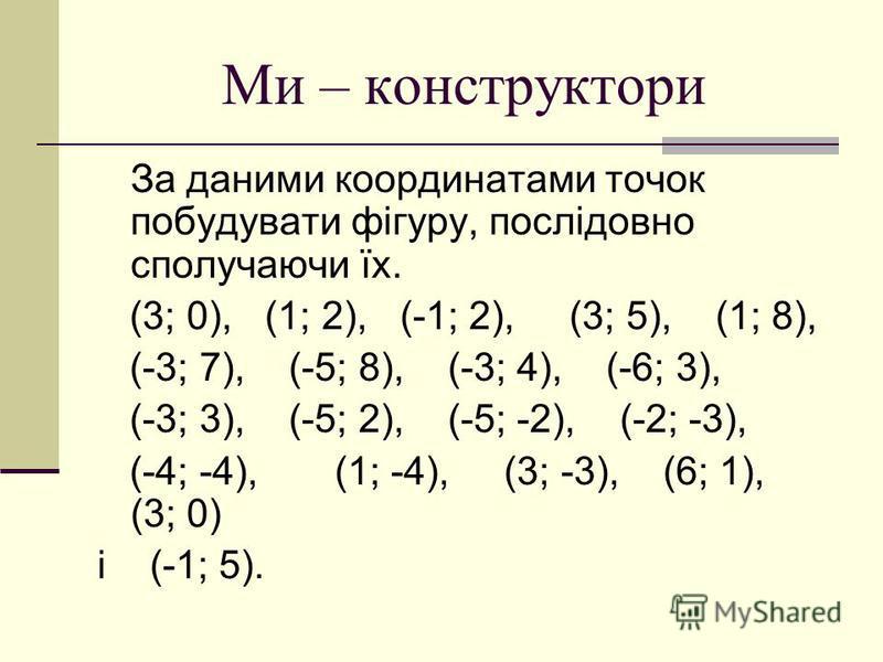 Ми – конструктори За даними координатами точок побудувати фігуру, послідовно сполучаючи їх. (3; 0), (1; 2), (-1; 2), (3; 5), (1; 8), (-3; 7), (-5; 8), (-3; 4), (-6; 3), (-3; 3), (-5; 2), (-5; -2), (-2; -3), (-4; -4), (1; -4), (3; -3), (6; 1), (3; 0)