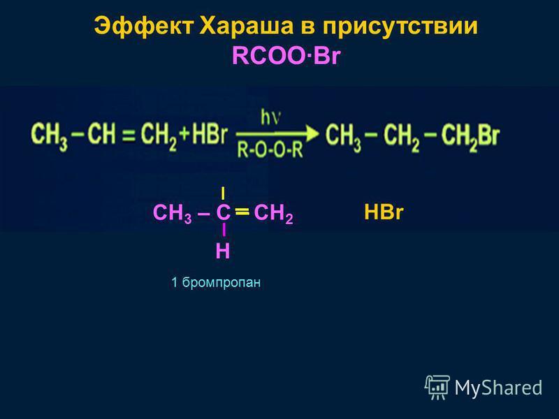 Эффект Хараша в присутствии RCOO·Br CH 3 – C H CH 2 HBr 1 бромпропан