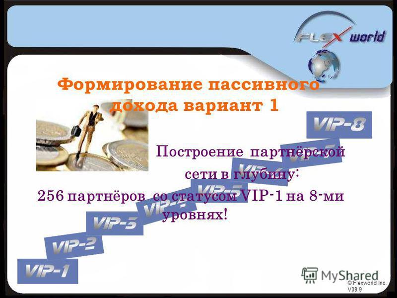 © Flexworld Inc. V08.9 Формирование пассивного дохода вариант 1 Построение партнёрской сети в глубину: 256 партнёров со статусом VIP-1 на 8-ми уровнях!