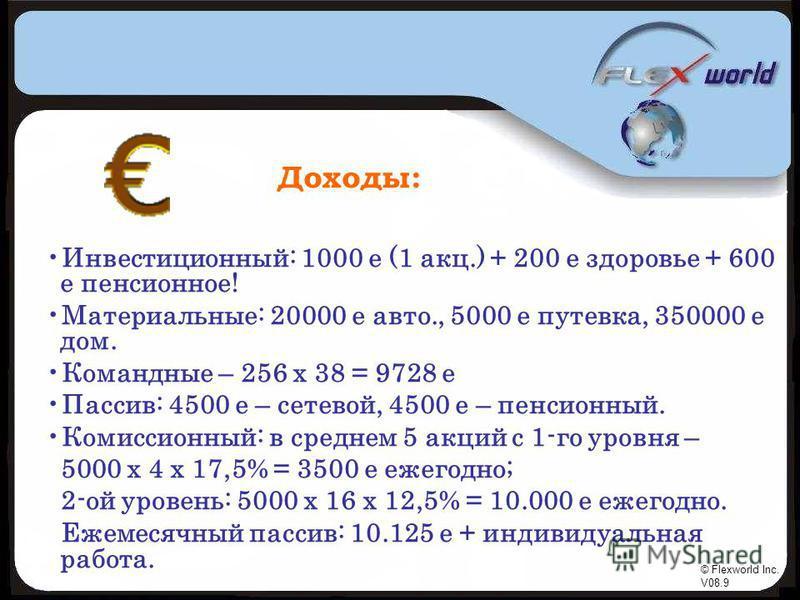 © Flexworld Inc. V08.9 Доходы: Инвестиционный: 1000 е (1 акц.) + 200 е здоровье + 600 е пенсионное! Материальные: 20000 е авто., 5000 е путевка, 350000 е дом. Командные – 256 х 38 = 9728 е Пассив: 4500 е – сетевой, 4500 е – пенсионный. Комиссионный: