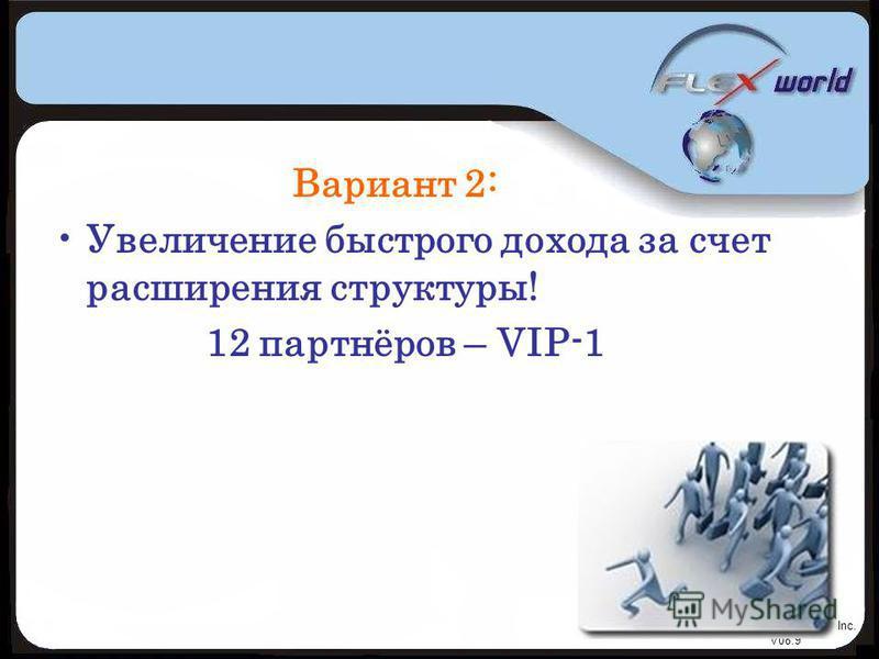 © Flexworld Inc. V08.9 Вариант 2: Увеличение быстрого дохода за счет расширения структуры! 12 партнёров – VIP-1