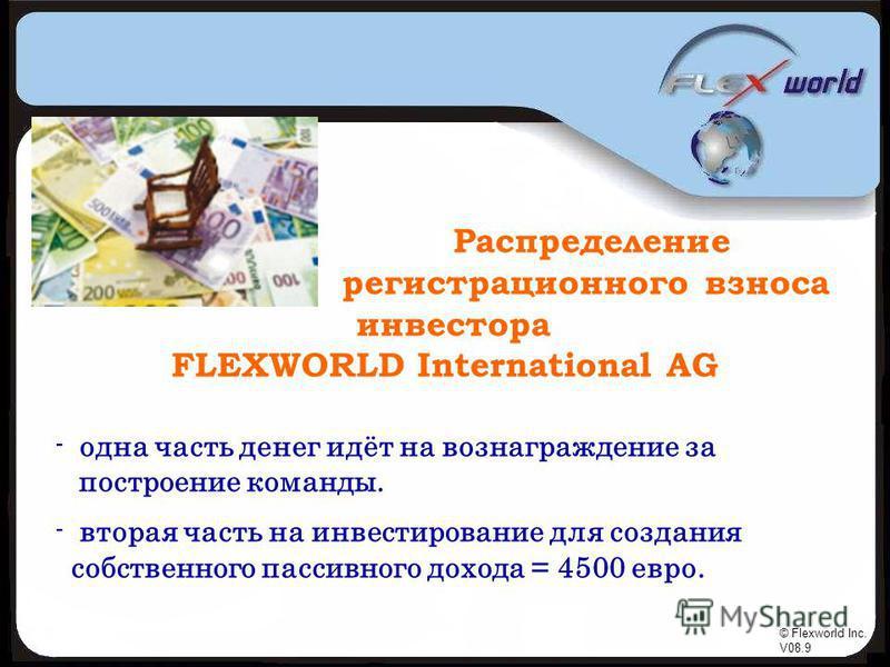 © Flexworld Inc. V08.9 Распределение регистрационного взноса инвестора FLEXWORLD International AG - одна часть денег идёт на вознаграждение за построение команды. - вторая часть на инвестирование для создания собственного пассивного дохода = 4500 евр