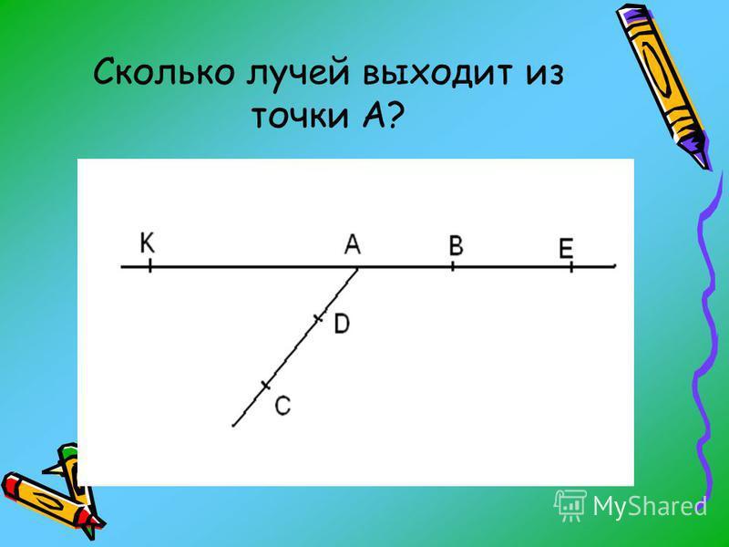Сколько лучей выходит из точки А?
