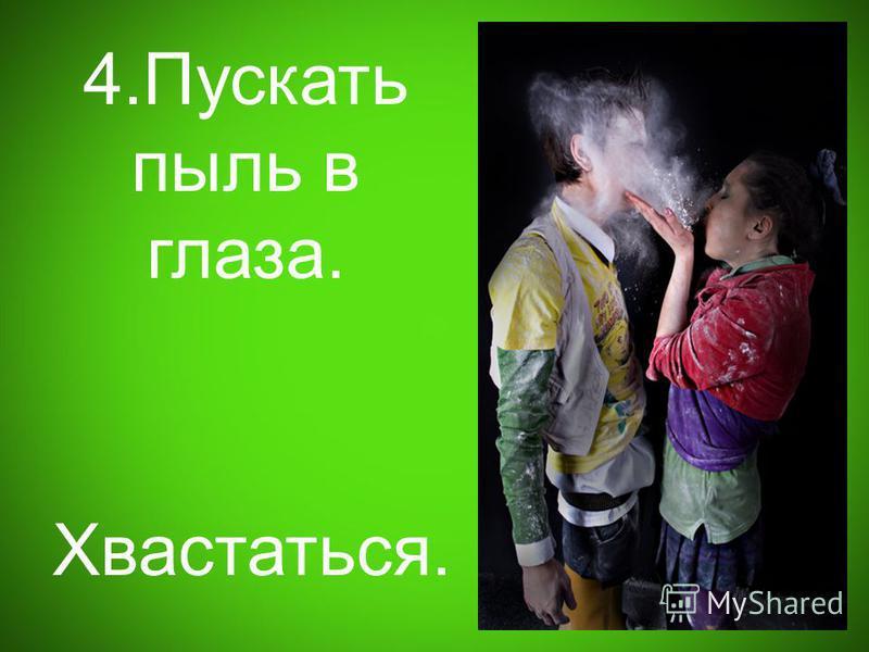4. Пускать пыль в глаза. Хвастаться.