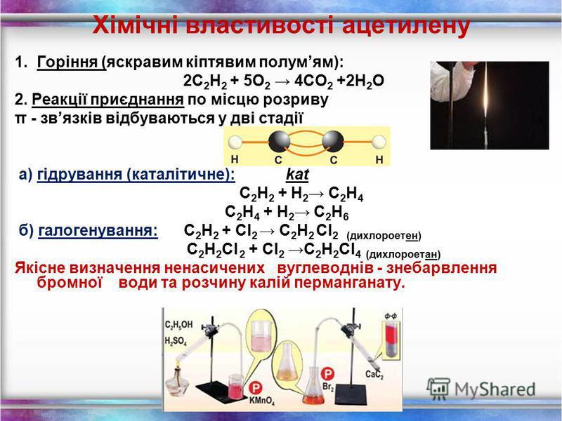 Фізичні властивості С2Н2С2Н2 безбарвний газ; майже без запаху; малорозчинний у воді, але під тиском добре розчиняється у ацетоні; t кип = - 84 ̊ С; легший за повітря; вибухонебезпечний