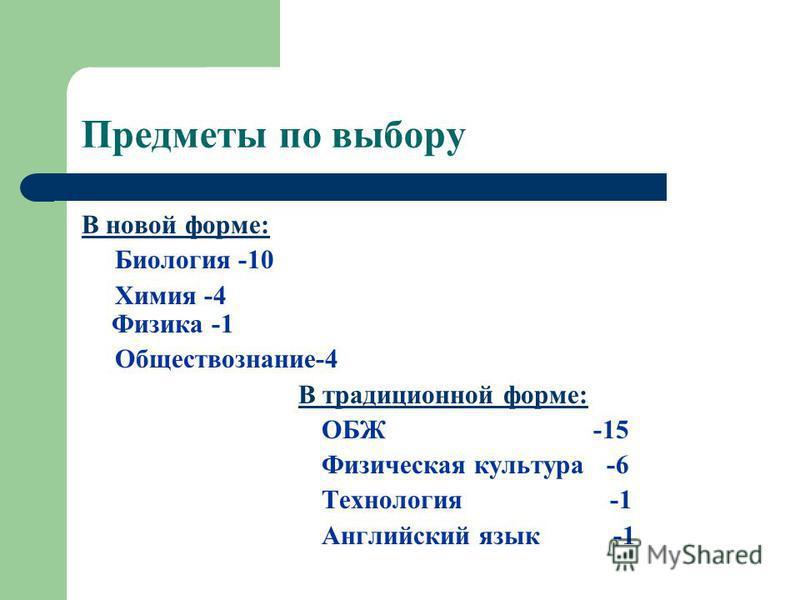 Предметы по выбору В новой форме: Биология -10 Химия -4 Физика -1 Обществознание-4 В традиционной форме: ОБЖ -15 Физическая культура -6 Технология -1 Английский язык -1