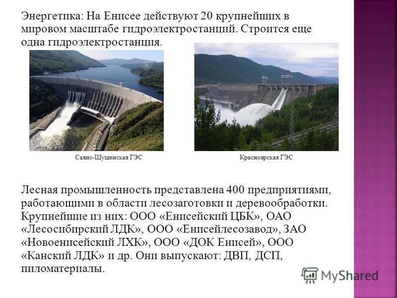 Энергетика: На Енисее действуют 20 крупнейших в мировом масштабе гидроэлектростанций. Строится еще одна гидроэлектростанция. Лесная промышленность представлена 400 предприятиями, работающими в области лесозаготовки и деревообработки. Крупнейшие из ни