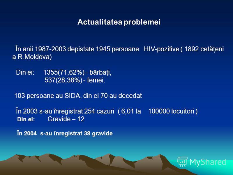 Actualitatea problemei În anii 1987-2003 depistate 1945 persoane HIV-pozitive ( 1892 cetăţeni a R.Moldova) Din ei: 1355(71,62%) - bărbaţi, 537(28,38%) - femei. 103 persoane au SIDA, din ei 70 au decedat În 2003 s-au înregistrat 254 cazuri ( 6,01 la 1