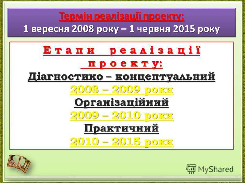 Термін реалізації проекту: 1 вересня 2008 року – 1 червня 2015 року Термін реалізації проекту: 1 вересня 2008 року – 1 червня 2015 року Е т а п и р е а л і з а ц і ї п р о е к т у: п р о е к т у: Діагностико – концептуальний 2008 – 2009 роки Організа