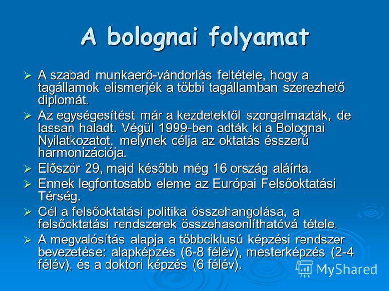 A bolognai folyamat A szabad munkaerő-vándorlás feltétele, hogy a tagállamok elismerjék a többi tagállamban szerezhető diplomát. A szabad munkaerő-vándorlás feltétele, hogy a tagállamok elismerjék a többi tagállamban szerezhető diplomát. Az egységesí
