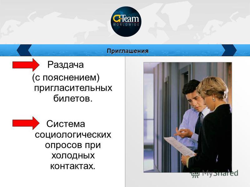 Раздача (с пояснением) пригласительных билетов. Система социологических опросов при холодных контактах. Приглашения