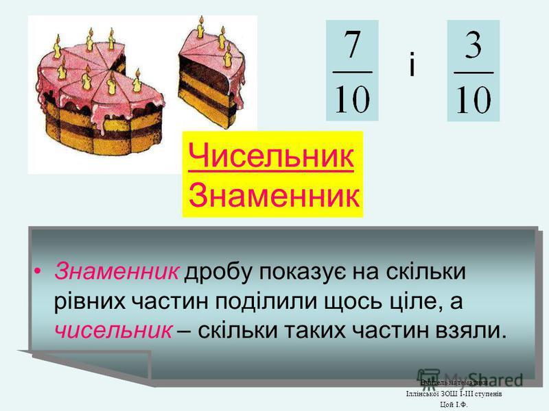 Святковий пиріг розрізали на 10 рівних частин. 1 : 10 = ? Вчитель математики Іллінської ЗОШ І-ІІІ ступенів Цой І.Ф.