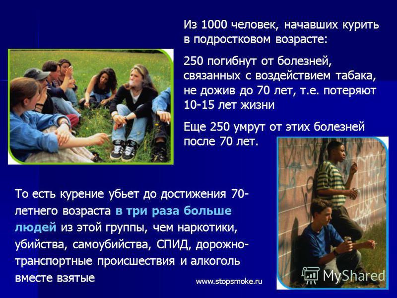 Из 1000 человек, начавших курить в подростковом возрасте: 250 погибнут от болезней, связанных с воздействием табака, не дожив до 70 лет, т.е. потеряют 10-15 лет жизни Еще 250 умрут от этих болезней после 70 лет. То есть курение убьет до достижения 70