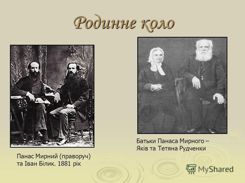 Батьки Панаса Мирного – Яків та Тетяна Рудченки Родинне коло Панас Мирний (праворуч) та Іван Білик. 1881 рік