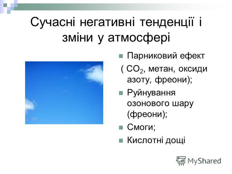 Сучасні негативні тенденції і зміни у атмосфері Парниковий ефект ( СО 2, метан, оксиди азоту, фреони); Руйнування озонового шару (фреони); Смоги; Кислотні дощі