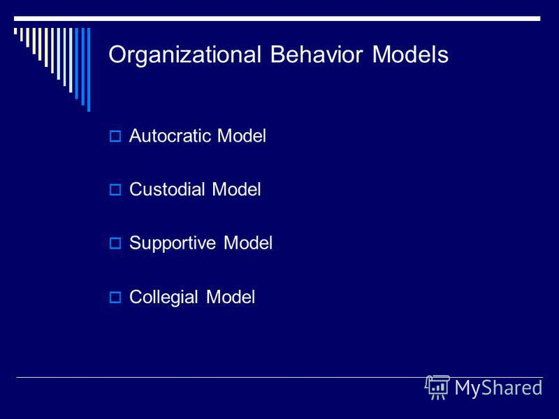 Organizational Behavior Models Autocratic Model Custodial Model Supportive Model Collegial Model