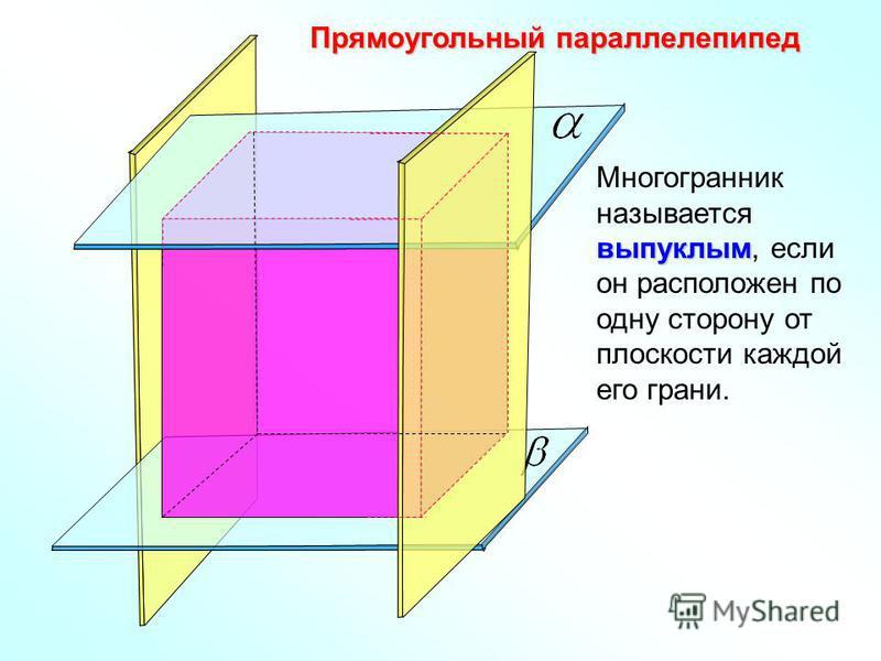 Прямоугольный парольелепипед выпуклым Многогранник называется выпуклым, если он расположен по одну сторону от плоскости каждой его грани.